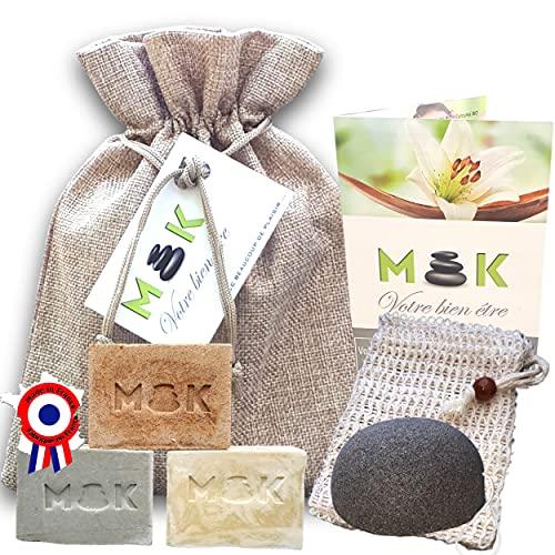 M'K - BIO - Saponifié à froid - artisanal - huile d'olive - Coffret femme bien-être : 3 X 100g NATUREL/ARGILE/CURCUMA + sac Jute + Sac sisal + Eponge Konjac + guide - Cadeau femme anniversaire - F
