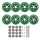 Rollerex VXT500 - Ruedas para patines (8 ruedas con rodamientos, espaciadores y arandelas)