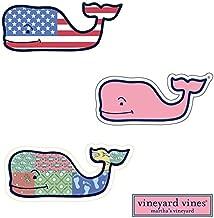 3X VINEYARD VINES Whale Vinyl Stickers - American Flag, Patchwork, Classic Pink - PREPPY 2.0 x 4.5