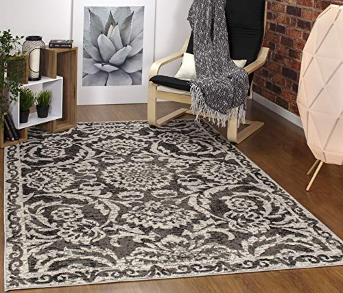 Antep Rugs Kashan King Collection Floral Polypropylene Indoor Area Rug (Grey/Black, 8' x 10')