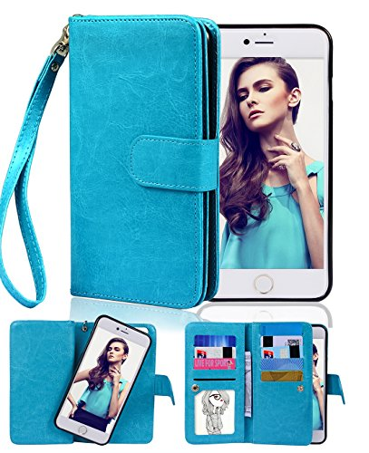 Crosspace Compatible with iPhone 6/6s Case [4.7inch 2014 Release] Wallet Case Premium PU Leather 2-in-1 Protective Magnetic Shell with Credit Card Holder/Slots and Wrist Lanyard (Blue)