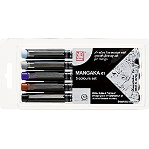 Zig Cartoonist Mangaka Marker Pen 5pc Set for Manga/Cartooning by Kuretake