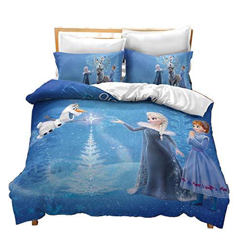 SMNVCKJ Ropa de cama infantil de Frozen Anna y Elsa Olaf Kristoff, funda nórdica con impresión digital 3D, microfibra, con funda de almohada, para niños y niñas, con cremallera (1,220 × 240 cm)