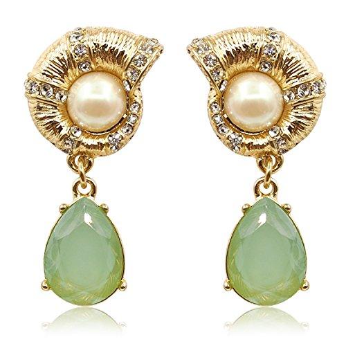 Laresdomi, orecchini in stile vintage, color oro, decorati con cristalli e con pendente a goccia in cristallo tipo calcedonio