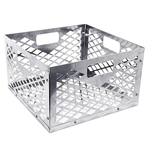 Cesto de carbón vegetal de acero inoxidable, caja para ahumar, cesta para horno de carbón vegetal con ahumador, plateado, 30 x 30 x 20 cm