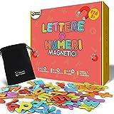 smart panda 104 lettere e numeri magnetici per bambini – set alfabeto magnetico – magneti per il frigo - giochi educativi per insegnare a scrivere e leggere ai bambini – con accenti italiani