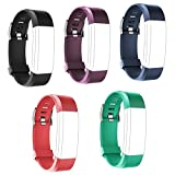 Tzsunrise Ersatzbänder für Fitness-Tracker ID115Plus HR (Schwarz, Blau, Violett, Rot, Grün), 5 Stück