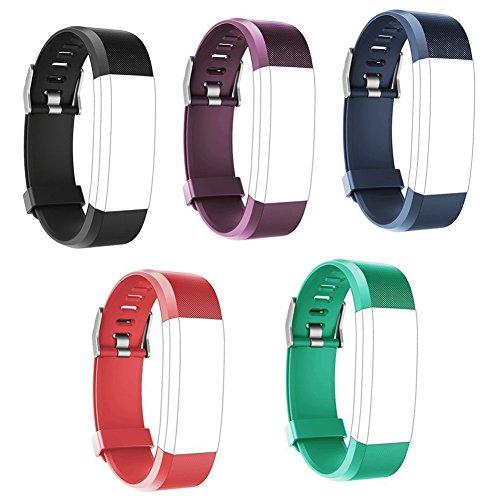 TZSUNRISE Polsini di Ricambio per Fitness Tracker ID115Plus HR, 5 pezzi (Nero, Blu, Viola, Rosso, Verde)