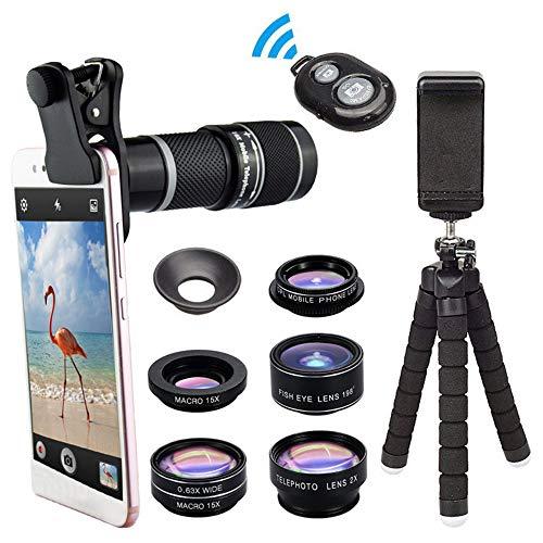 NNBB Kit de Lente Zoom de la cámara del teléfono móvil, HD 18x telescopio óptico trípode Lente de Zoom 5-en-1 para la mayoría de los teléfonos móviles