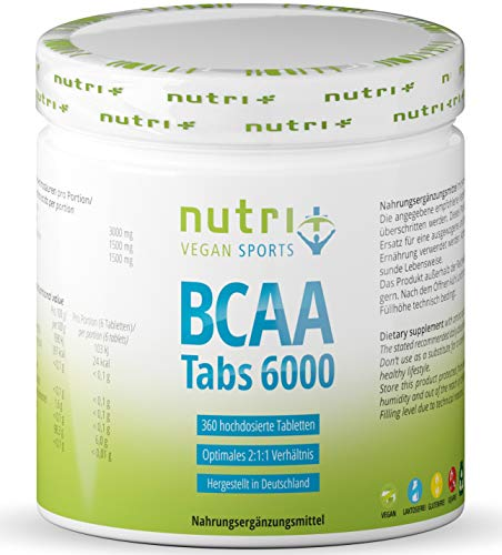 BCAA Tablets 2:1:1 Vegan - 360 Mega Tabs - 1000 mg BCAA Tablet - Aminos high Dosage - Essential Amino acids - Aminotabs Without Magnesium Stearate