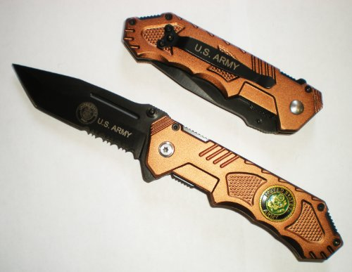 8' U.S. ARMY DESERT BRONZE TANTO BLADE Assisted Opening Pocket Knife With GRIP Handle
