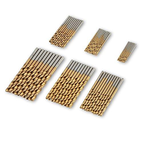 Punte per trapano 60 Pezzi Micro Punte elicoidale set in acciaio ad alta velocita HSS e rivistimento di titanio 1/1,5/2/2,5/3/3,5mm