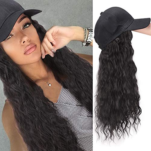 AISI BEAUTY Synthetic Long Wave Baseball Cap with Hair Brown Black Wavy Women Wig Hats with Hair Wavy Extensions (Brown Black)