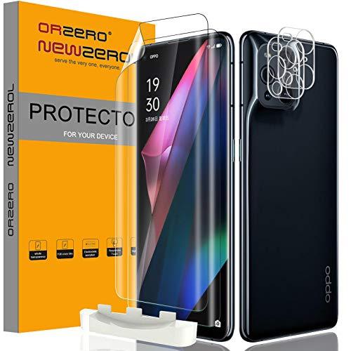NEWZEROL 2 Stück für Oppo Find X3 Pro Schutzfolie & 2 Stück kameraschutz, 3D vollständige Abdeckung Bildschirmschutzfolie mit Fingerabdruckerkennung & Kamera Panzerglas Doppelter Schutz - Klar