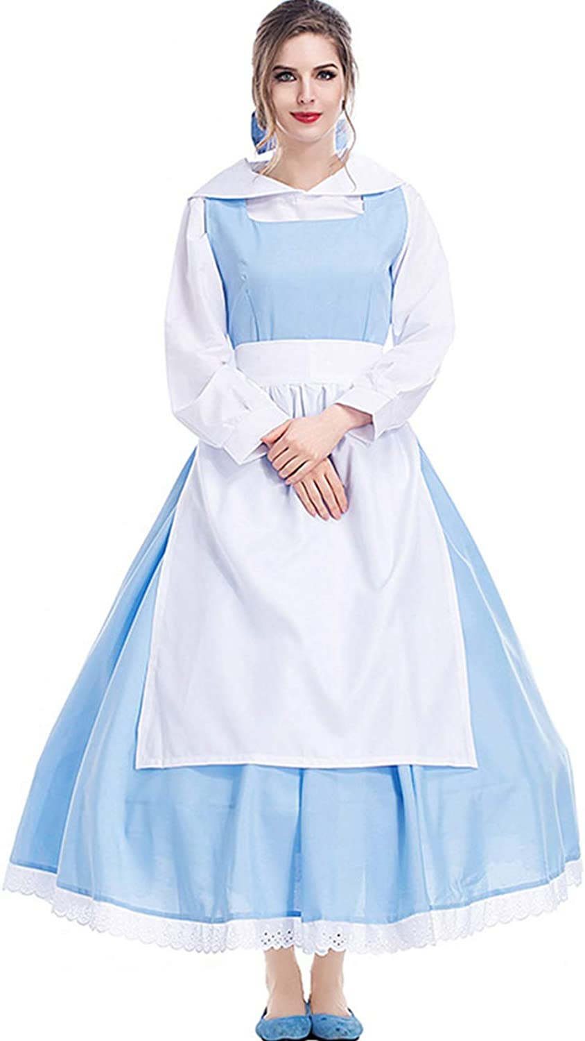 colorful House Women's Cosplay Outfit bluee Dress Maid Fancy Dress Costume