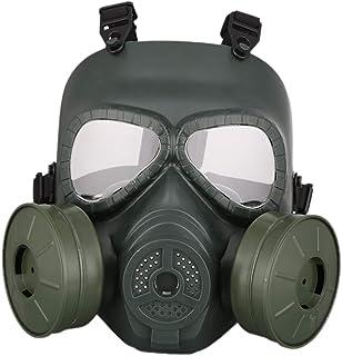 Iswell Deportes al aire libre Casco con máscara de gas completamente cubierto Hombres Mujeres Lente de PC Resistencia a los golpes ajustable Ropa deportiva para CS con ventiladores dobles