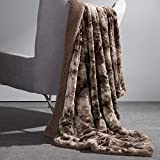 Bedsure Faux Fur Reversible Tie-dye Sherpa Throw Blanket for Sofa, Couch and Bed - Super Soft Fuzzy Fleece Blanket for Outdoor, Indoor, Camping (50x60 inches, Brown)