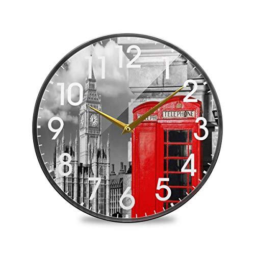 Big Ben London Cabina de teléfono roja Inglesa Reloj de Pared Redondo Funciona con Pilas Cuarzo silencioso Que no Hace tictac para el hogar Sala de Estar Oficina Cocina Dormitorio