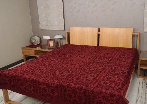 Antifaz funda de seda bordado a mano con cinta manta colcha trabajo con paneles de espejo de cruz con diseño de tamaño: 86 x 264,16 cm
