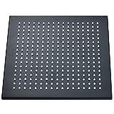 Ksunun 16 Pulgadas Alcachofa de Ducha LED Cuadrado Cabezal de Ducha Lluvia de Alta Presión Rociador de Ducha de Lluvia de Latón con Jets de Silicona Control de Temperatura 3 Cambio de Color,Negro