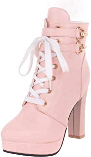 MisaKinsa Women Fashion High Heels Booties Martin Boots Zip