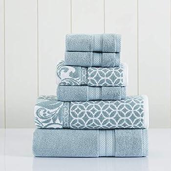Amrapur Overseas   Trefoil Filigree 6 Piece Reversible Yarn Dyed Jacquard Towel Set  Sterling Blue
