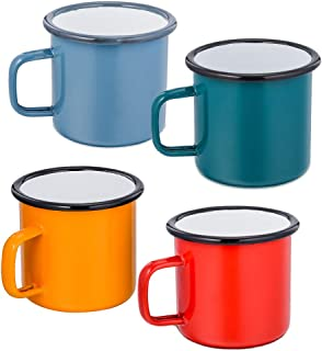 Camping Coffee Mug Set of 4,P&P CHEF Enamel Tea Coffee Drinking Mugs Cups for Home Party Travel Picnic Camping, Reusable & Portable - 12 Ounce/355 ML