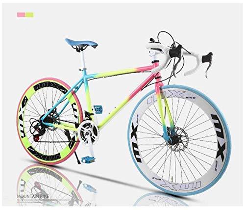 WLGQ Rennrad, 24-Gang 26-Zoll-Fahrräder, Doppelscheibenbremse, Rahmen aus Kohlenstoffstahl, Rennradrennen, Herren und Damen für Erwachsene