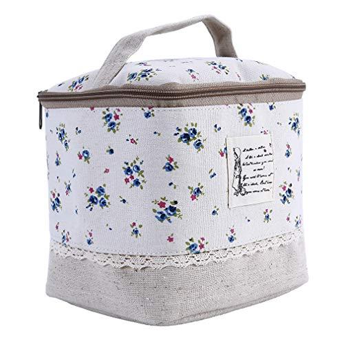 SUNSKYOO Sac de Rangement en Lin en Coton à Pois Floral Zipper Sac à cosmétiques, Organisateur de Voyage à Main, Bleu