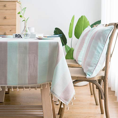LINENLUX Striped Cotton Linen Tablecloth/Table Cover with Tassel Blue Pink Rectangle/Oblong 55 X 70 in