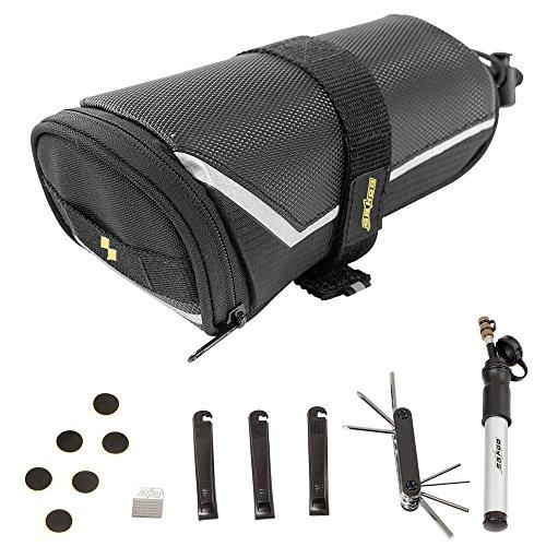 Docooler Sahoo Reparatur-Kit für Fahrrad, Flick-Set für Reifenpannen, mit Pumpe, Reparatur-Set für Reifen, 7-in-1-Multitool, Fahrrad-Zubehör, inkl. Satteltasche