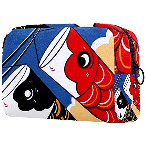 Trousse à pinceaux de maquillage portable pour femme avec écailles de poisson rouges et noires