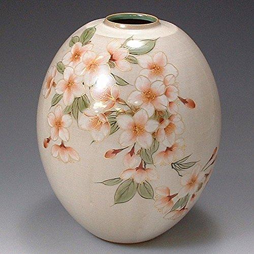 Kiyomizu-kyo yaki Ware. Japanese Ceramic Ikebana Flower vase. White Sakura. kymz-toua441