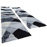 Shaggy Läufer Bettumrandung Hochflor Teppich Vigo In Versch. Farben 3er Set, Farbe:grau, Läuferset Größen:2 mal 70x140 1 mal 70x250 cm