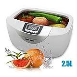 Limpiador ultrasónico Digital Cestas Joyas Relojes Dental 2.5L 60W 40kHz Calefacción Ultrasonido Ultrasónico Limpiador de Verduras Baño