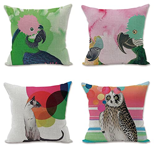 KaiXINSun Throw Pillow Fundas Paquete De 4 Funda De Almohada De 18X18 Pulgadas Funda De Sofá De Casa Cuadrada Decorativa Cremallera Invisible 45X45Cm Loro Búho