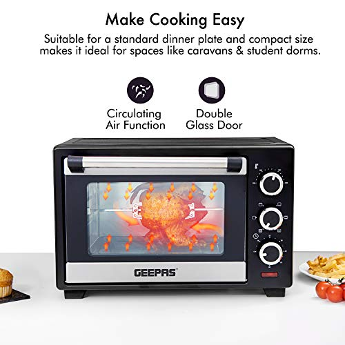 Geepas 25L Mini Oven and Grill – 1600W Electric Oven with Rotisserie & 60 Minutes Timer - 6 Selectors for Baking, Roasting & Grilling - Circulating Air Function, Double Glass Door – 2 Years Warranty