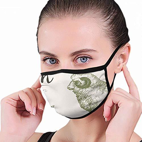 Mond Masker, Ram 2 Gehoornde Merino Schapen Vintage Natuur Mond Covers, Houd Warm In Koud Voor Mannen Vrouwen