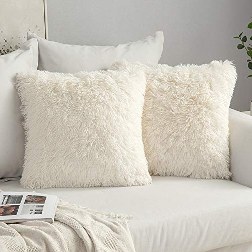 MIULEE Faux Fur Cushion Covers Fluffy Throw Pillow Case Soft Decorative Square Cute Pillow Plush Case for Livingroom Sofa Bedroom 18 x 18 Inch 45x45 cm Cream White Pack of 2