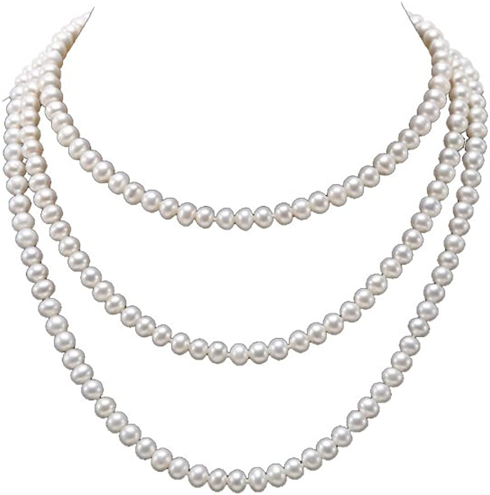 JYX Pearl Necklace Long AA+ 6-7mm White Freshwater Cultured Pearl Sweater Necklace for Women 47