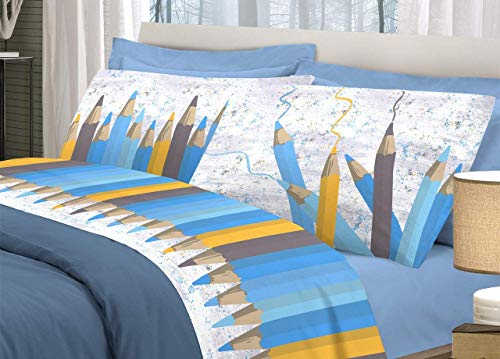 Biancheria Store Set Lenzuola Letto Singolo Matite Colorate Completo Letto 1 Piazza Cotone Made in Italy Lenzuolo sopra 160x300 + sotto con Angoli 90x200 + Federa 52x82 - Blu
