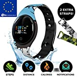 Motus Color! Montre Connectée Femmes Homme Enfant [3 Bracelets Inclus] Montre Intelligente IP68 Pas Cher [Smartwatch Bluetooth, Podomètre, Calories, Surveillance du Sommeil] Notifications Android iOS