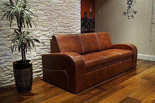 Quattro Meble Echtleder 3 Sitzer Sofa Oslo FS Breite 200cm mit Schlaffunktion Ledersofa Echt Leder Couch große Farbauswahl !!!