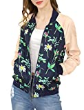 Allegra K Women's Floral Jackets Contrast Zip Up Light Weight Bomber Jacket Blue Pink S (US 6)