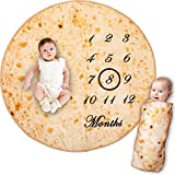 Bliss N Baby Milestone Blanket Baby Boy & Girl - Perfect Baby Age Blanket Gift Which is Ultra Soft, Double-Sided, Funny Baby Growth Chart Blanket & Fluffy Texture- Tortilla Baby Boy Blanket