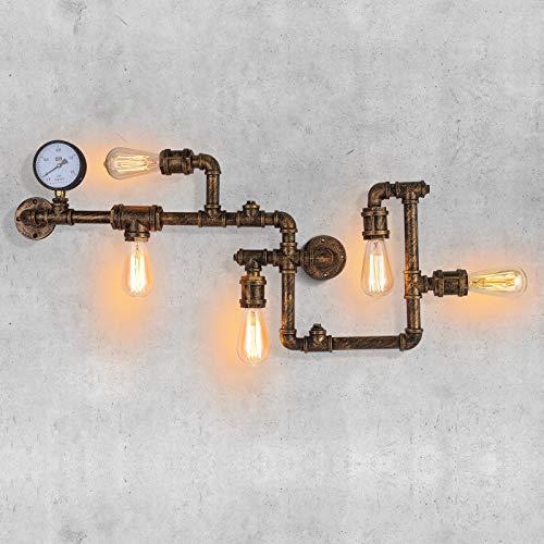 Vintage WasserRohr WandLampe Industrial Retro Metall mit Fünf Edison Lichtquellen Steampunk Wand Licht mit Kupfer für Wohnkultur Pub Cafe Hotel Schlafzimmer Studie Lobby Steampunk Stil (Messing)