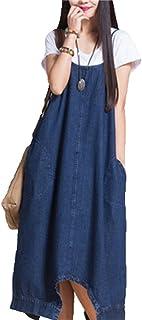 MJS-BM 【産前 産後 ファッションに 】デニム風 ゆったり カジュアル サロペット オーバーオール 2WAY スタイル ( サイズ : 3種 / カラー : 2色 / ボタン付き ) おしゃれ 便利 スカート (L, 青)