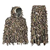 Auscamotek 3D Leaf Ghillie Suit Hybrid Camo Jacket Turkey Hunting Ghilly Suits, Green XL-XXL