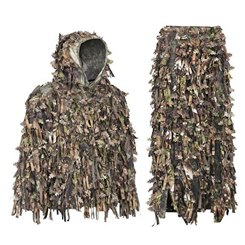 Auscamotek Leafy Ghillie Suit 3D Hybrid Camouflage Clothing Hunting Turkey Gilly Suits, Green M-L