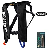 MOCOTONO Inflatable Life Jacket, Automatic/Manual Inflatable PFD Life Vest for Adults,Auto Black